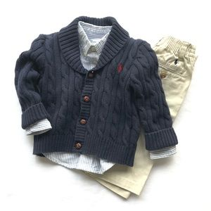 Ralph Lauren Boys Outfit - Sweater/Oxford/Pants